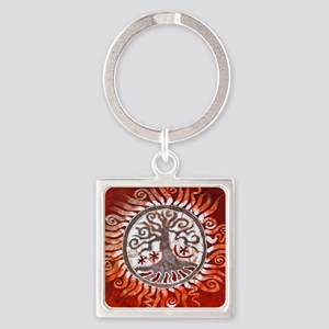 red tree of life Square Keychain