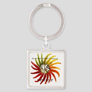 charleston_hot_peppers_white_backg Square Keychain