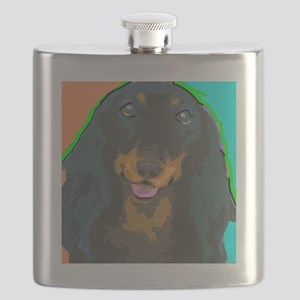 large longhair dachshund Flask