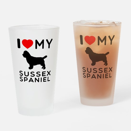 I love My Sussex Spaniel Drinking Glass