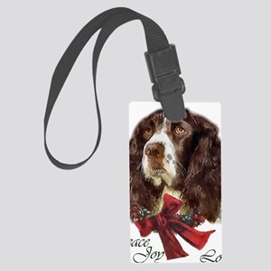 SpringerSpanielChristma card Large Luggage Tag
