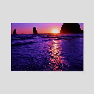 Haystack Rock Sunset Rectangle Magnet