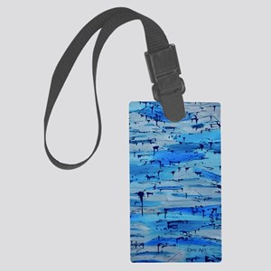 feelingblue vertcal front Large Luggage Tag
