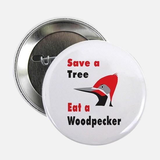 Funny Woodpecker Button