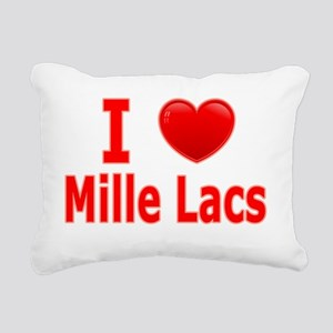 I Love Mille Lacs red Rectangular Canvas Pillow
