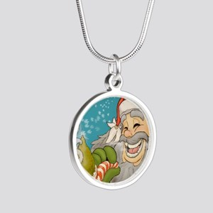 santa_notext Silver Round Necklace