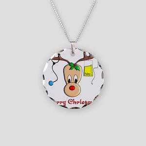 Nurse Reindeer Necklace Circle Charm
