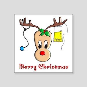 """Nurse Reindeer Square Sticker 3"""" x 3"""""""