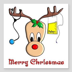 "Nurse Reindeer Square Car Magnet 3"" x 3"""