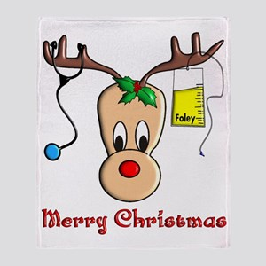 Nurse Reindeer Throw Blanket
