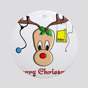 Nurse Reindeer Round Ornament