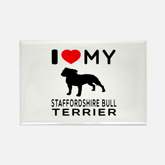 I love My Staffordshire Bull Terrier Rectangle Mag