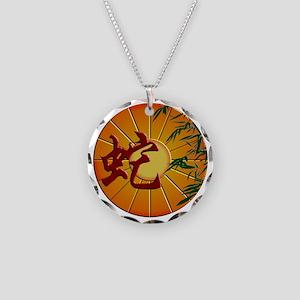 ZY Snake Clock Necklace Circle Charm