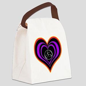 purple heart valentine Canvas Lunch Bag