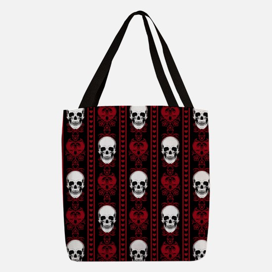 Baroque Skull Stripe Pattern Red Polyester Tote Ba
