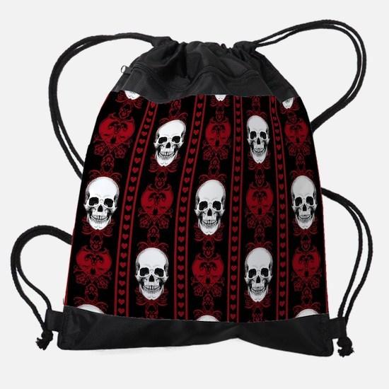 Baroque Skull Stripe Pattern Red Drawstring Bag