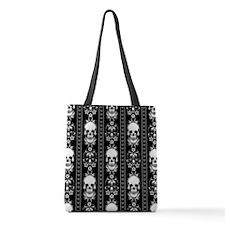 Baroque Skull Stripe Pattern Black Polyester Tote