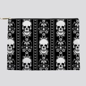 Baroque Skull Stripe Pattern Black Makeup Pouch
