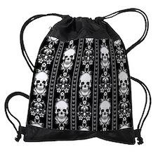 Baroque Skull Stripe Pattern Black Drawstring Bag