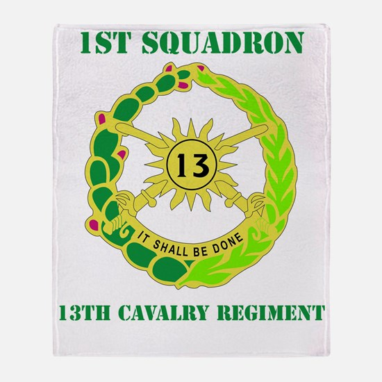 DUI-13TH CAVALRY RGT WITH TEXT Throw Blanket