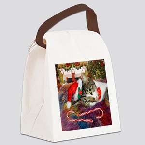 cat xmas room16x16 Canvas Lunch Bag