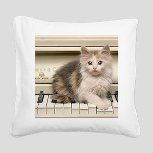 piano kitten panel print Square Canvas Pillow