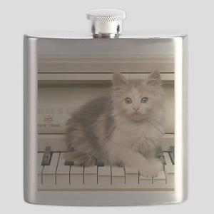 piano kitten panel print Flask