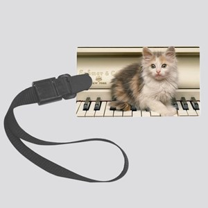 piano kitten panel print Large Luggage Tag