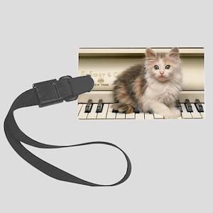 piano kitten panel print Large Luggage Tag