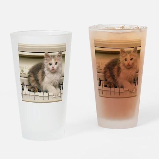 piano kitten panel print Drinking Glass