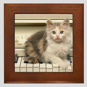 piano kitten panel print Framed Tile