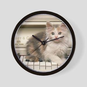 piano kitten panel print Wall Clock