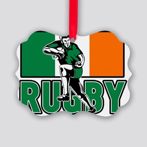 rugby player running fending irel Picture Ornament