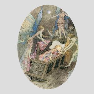 Fairies and Sleeping Beauty Oval Ornament