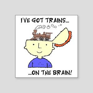 """train_Brain2 Square Sticker 3"""" x 3"""""""