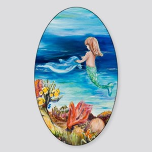 Young Mermaid with Dolphine. final Sticker (Oval)