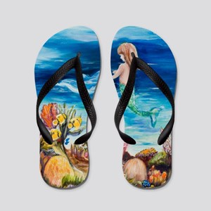 Young Mermaid with Dolphine. final Flip Flops
