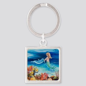 Young Mermaid with Dolphine. final Square Keychain