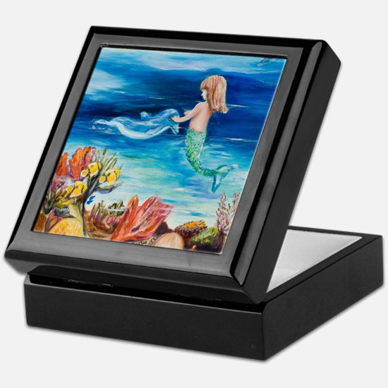 Young Mermaid with Dolphine. final Keepsake Box