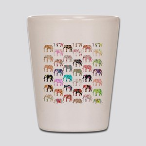 Girly Whimsical Retro Floral Elephants  Shot Glass