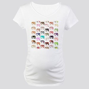 Girly Whimsical Retro Floral Ele Maternity T-Shirt