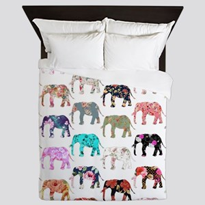 Girly Whimsical Retro Floral Elephants Queen Duvet