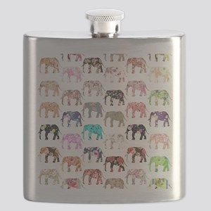 Girly Whimsical Retro Floral Elephants Patte Flask