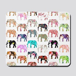 Girly Whimsical Retro Floral Elephants P Mousepad