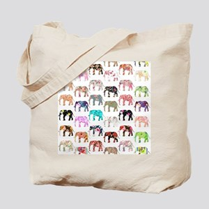 Girly Whimsical Retro Floral Elephants Pa Tote Bag
