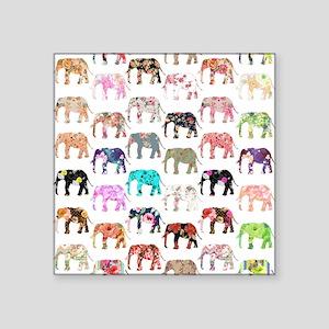 "Girly Whimsical Retro Flora Square Sticker 3"" x 3"""