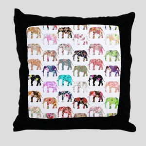 Girly Whimsical Retro Floral Elephant Throw Pillow