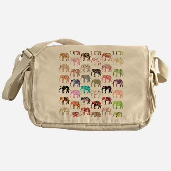 Girly Whimsical Retro Floral Elephan Messenger Bag