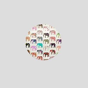 Girly Whimsical Retro Floral Elephants Mini Button