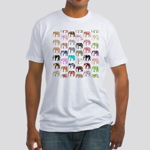 Girly Whimsical Retro Floral Elepha Fitted T-Shirt